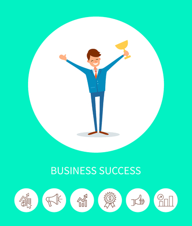 Business success, businessman with trophy award vector. Icons conceptual images chief executive leader of company with achievements, happy man smiling