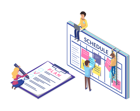 Schedule and planning on clipboard, business strategy worked out by workers. People organizing tasks vector. Writing plans and sticking notes ideas