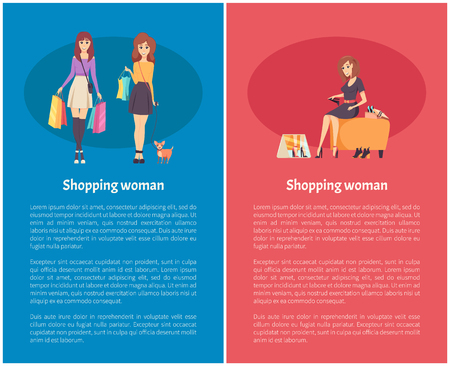 Shopping woman female lady walking with bags and handbag on shoulder vector. Shopper with bought items, woman trying on new shoes in boots store poster Banque d'images - 125971288