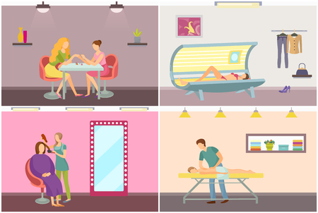 Spa salon manicure nails polishing. Hair styling visagiste makeup of lady sitting in chair. Beauty procedures relaxing massage and tanning in solarium