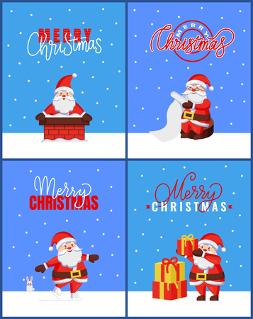 Merry Christmas set of cards, Santa holds wishlist. Vector cartoon character Jack Frost sitting on snow, going into chimney, put presents on pile