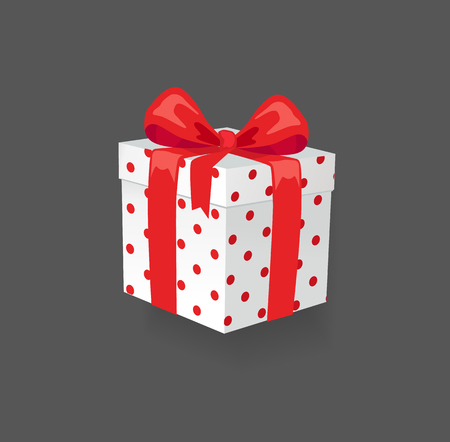 Gift box with surprising content, present box, isolated icon vector. Polka dot pattern on container with wrapping and ribbon with decoration bows