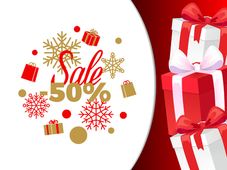 Christmas sale 50 percent of price reduction banner vector. Winter discounts and clearance of marketplaces, snowflakes and presents, gift in boxes
