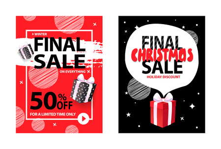 Vector total price off Xmas leaflet, final Christmas sale, holiday discount,wrapped gift box on background of night black sky with stars and abstract frame