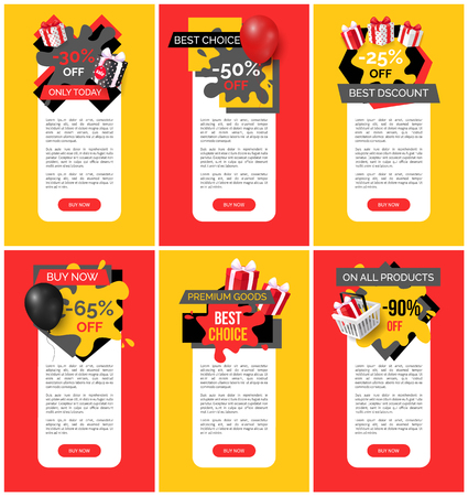 Products sale, discounts and clearance web pages set vector. Presents in gift boxes, shopping basket with surprise. Sellout and promotion of goods Çizim