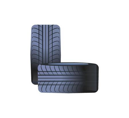 Band auto wielen gemaakt van rubber materiaal, banden geïsoleerde pictogram vector. Rond zomer winter auto onderdelen, transport onderhoud. Gebogen sporen afdrukken Vector Illustratie