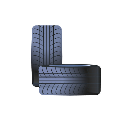 Tire car wheels made of rubber material, tyres isolated icon vector. Round summer winter automobile parts, transports maintenance. Curved traces print 矢量图像