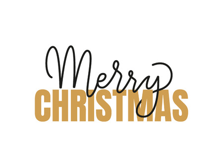 Merry Christmas inscription, lettering sign with happy winter holidays wishes. Typography doodle text, calligraphic letters written in black and gold color Illustration