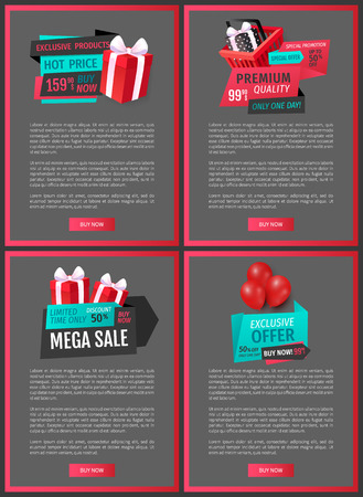 Giftbox with bow, saving money by buying presents on discounts offer, promo banners. Hot price, buy now exclusive product on sale web pages template vector. Иллюстрация