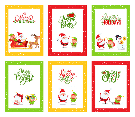 Merry Christmas cards with Santa Claus. Vector of festive illustration greetings with Elf and Reindeer singing carols, dancing and riding on sleigh