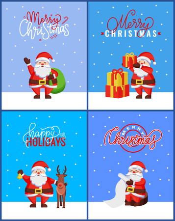 Christmas greeting cards package with Santa Claus holding sack of presents. Vector cartoon character Jack Frost with jingle bell and helper reindeer Illustration