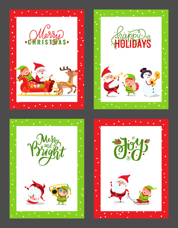 Happy New Year festive cards with cartoon Santa Claus, Elf, Snowman, Deer. Vector Christmas characters having fun, listening, playing music, dancing Ilustração