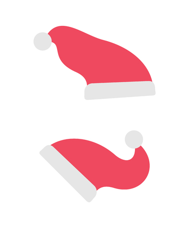 Santa Claus hats, red accessory, holiday clothing. Vector cartoon clipart of fur caps. Merry Christmas and New Year celebration isolated illustration