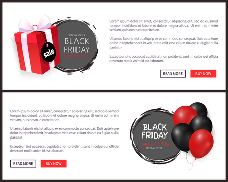 Black Friday sale, bunch of helium air balloons and gift box, wrapped in dotted paper, discounts vector. Special offer up to 70 percent off web pages Illustration