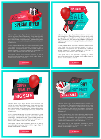 Advertising online pages gift boxes and shopping sale labels. Special offer on exclusive products vector price tags on web promo vouchers, text sample Illustration