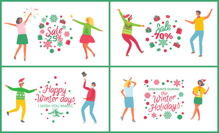 Christmas party people dancing and celebrating set vector. Happy new year winter holiday. Sale and discounts of shops, 25 percent off proposition Illustration