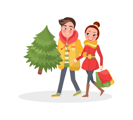 Merry couple return, from shopping, Christmas tree and packages. Happy Young family getting ready to Xmas eve. Man and woman with spruce isolated vector