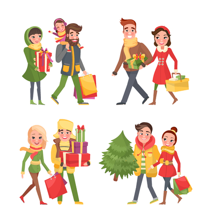 Christmas shopping, holiday preparation in winter set. People buying fir evergreen tree and presents. Couple with bought items in paper bags and kids Illustration