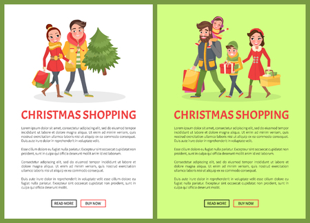 Christmas shopping poster, merry couple and Xmas tree, packages. Young family with children getting ready to New Year. Man and woman with spruce, vector Illusztráció