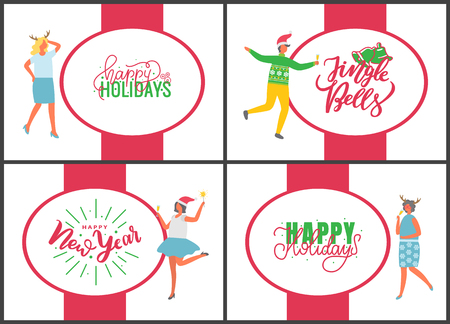 Jingle bells happy New Year and Merry Christmas celebration posters on white background. People with champagne drinking alcohol and dancing. Fun party of man and woman