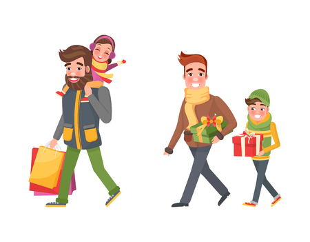 Christmas holiday shopping, father and children spending time together vector. Dad and son carrying present, gift box decorated with red ribbon bow