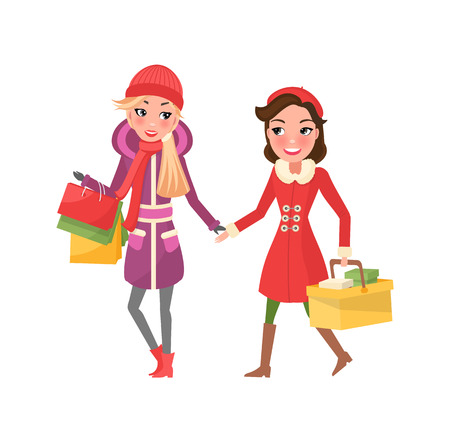 Christmas shopping of best friends, girl shoppers vector. Person walking with package in hands, close females customers. Winter holidays presents