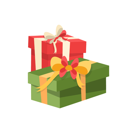 Red and green packages boxes, decorated by satin tape, surprise on Christmas and New Year, topped by bow. Wrapped Xmas presents icon isolated vector  イラスト・ベクター素材