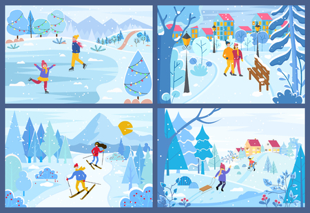 Winter Christmas holidays of people in park set vector. Children skating and skiing person, couple walking along trees covered with snow, seasonal fun Foto de archivo - 125943979