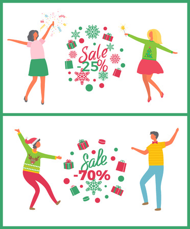 Christmas party and holiday sale people. Happy girls in green and pink skirts and boys in jeans near presents with big discounts vector illustration
