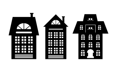 Houses Monochrome Silhouette Multi Storey Building Stok Fotoğraf - 115950855