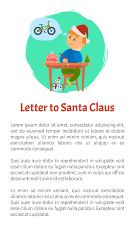 Letter to Santa Claus and boy thinking of wish to make, kid writing mail dreaming of new bicycle. Child sitting at table with spruce on it, snowman under Standard-Bild - 125943987
