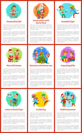 Handcrafted gifts made by child girl Christmas holiday preparation vector. children playing together. Santa Claus with presents in bag sack and helper