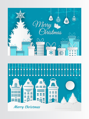 Merry Christmas greeting card made of paper cut elements. Houses and gift boxes, New Year Trees and buildings, moon and star in white and blue colors 스톡 콘텐츠 - 115707320