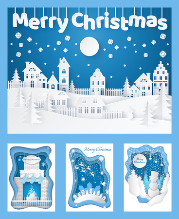 Merry Christmas paper cut silhouettes cards set vector. Chimney with fire and socks, nature wood of pine trees and building of town city in evening