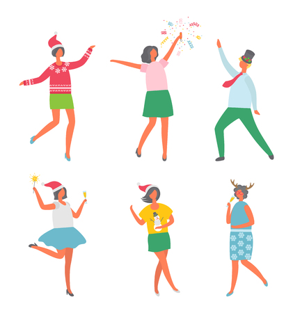 Christmas party, happy people having fun dancing vector. Woman wearing Santa Claus hat, female with confetti, man in hat with mistletoe plant leaf 일러스트