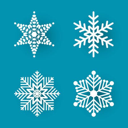 Christmas paper cut, four different white snowflakes on blue background. Decoration for winter holiday. Handmade small postcard vector illustration