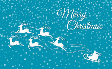 Merry Christmas reindeer with sleigh holiday cut out vector. Paper cut of snowfall and flying deers pulling sledges of Santa Claus. Winter time art