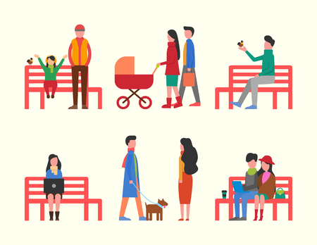 Man sitting on bench, couple and family walking together vector. Woman working on laptop, people walking pet dog on leash. Father and mother with pram
