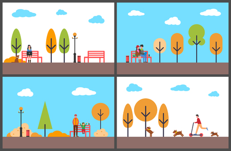 Woman freelancer working in autumn park people vector. Male riding scooter dog running beside owner. Father and daughter with bird, couple with coffee