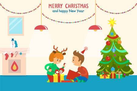 Merry Christmas and Happy New Year Children Home Imagens - 115950881