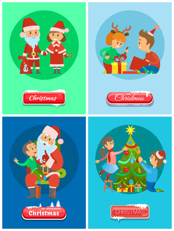 Christmas holidays, Santa Claus and Snow Maiden winter characters vector. Father Frost with kid on lap and making wish. Unpacking gifts, tree decor 向量圖像