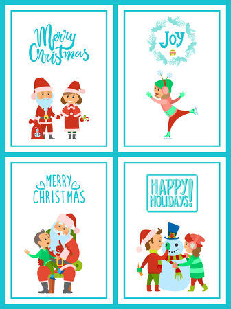 Merry Christmas Santa Claus character with helper, holidays celebration vector. Children building snowman and skating on rink. Boy making wish dream  イラスト・ベクター素材