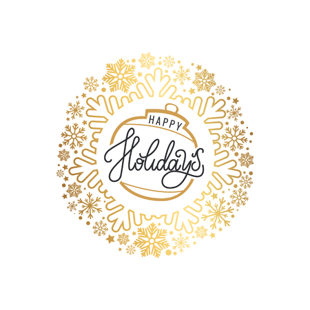 Happy holidays inscription on golden ball Christmas or New Year toy, vector in round wreath made of ornamental snowflakes. Xmas bubble with merry greetings