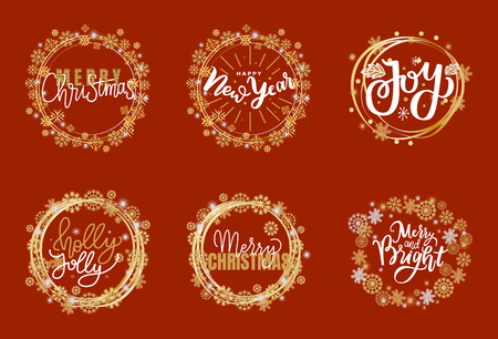 Happy Holidays and best wishes, merry and bright Christmas, holly jolly New Year handwritten doodles, scripts, calligraphic inscription for greeting cards. White text on red background 일러스트