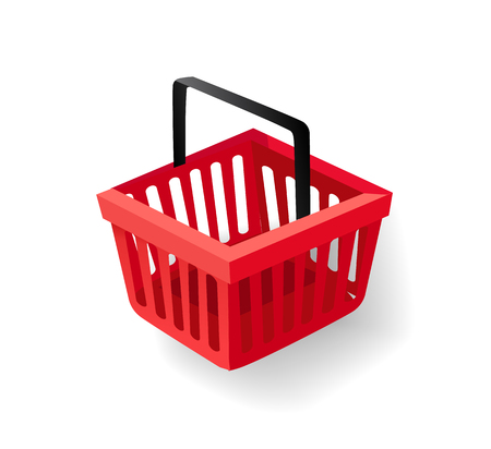 Shopping Basket with Handle, Supermarket Item Stock Vector - 115950894
