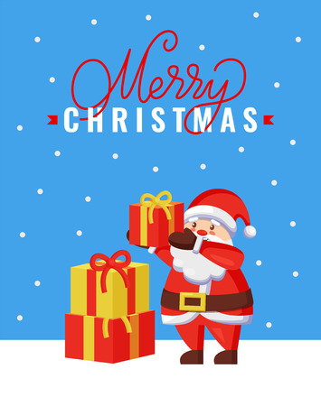 Merry Christmas greeting card Santa Claus gets packed presents gift boxes on pile. Father frost ready to give surprises in packages wrapped in paper