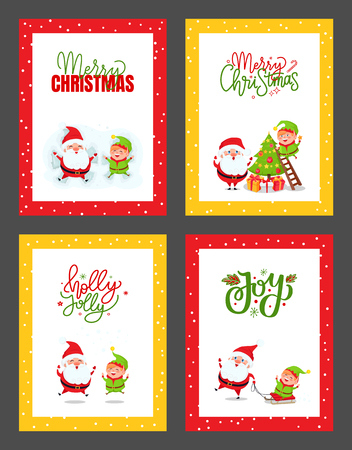 Christmas greeting cards with Santa Claus and Elf. Vector of cartoon Father Christmas, fairy tale creature decorating xmas tree. Dwarf riding on sleigh Illustration