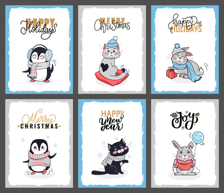 Set of cartoon animals with calligraphy lettering wishes. Clipart vector cards of penguin, cat, bunny. Merry Christmas card with penguin in warm sweater
