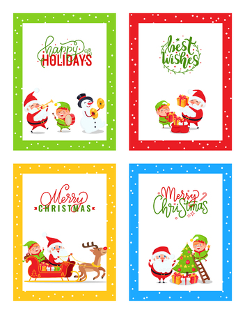 Merry Christmas Cards with Cartoon Characters Set. Santa Claus, Elf, Snowman and Deer in vector images greetings with colorful calligraphy lettering