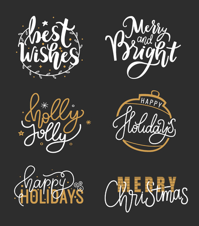 Happy Holidays and best wishes, merry and bright Christmas, holly jolly New Year handwritten doodles, scripts, calligraphic inscription for greeting cards